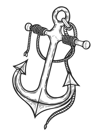 Vintage anchor with rope, Hand-drawn sketch engraving style. Travel, discovery, cruise symbol. Vector illustration Illustration