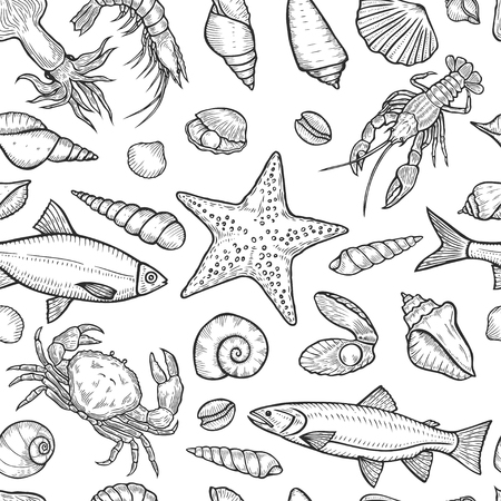 Hand drawn Marine seamless background from sea shells and stars. Nautical pattern with shellfishes isolated on white. Vectores