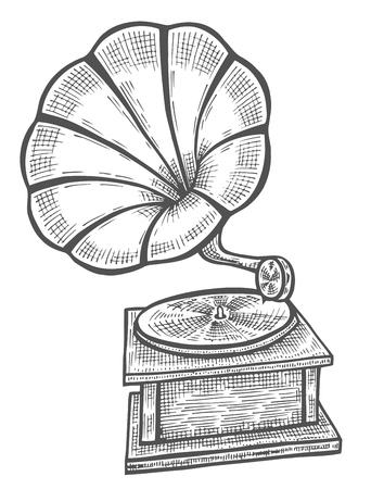 Hand drawn gramophone, sketch. Music, nostalgia symbol. Vectores