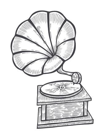 Hand drawn gramophone, sketch. Music, nostalgia symbol. Illustration