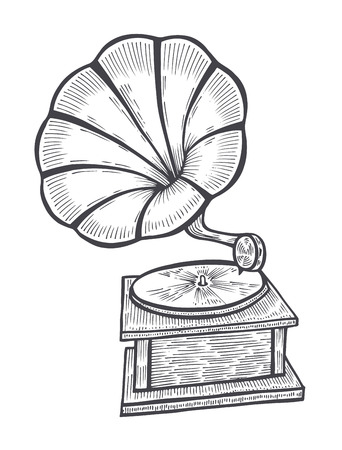 Hand drawn gramophone, sketch. Music, nostalgia symbol. Illustration