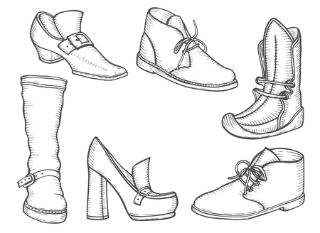 Male and female boot set illustration. Winter and summer shoes in classic style, drawing, engraving, ink, line art. Vector illustration.