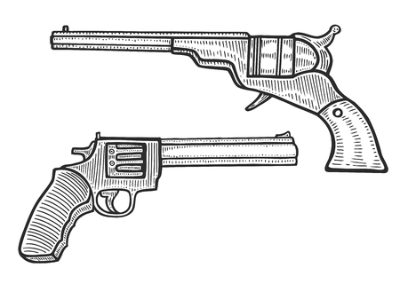 Set of two Gun revolver handgun pistol drawing in a vintage retro woodcut etched or engraved style. Hand drawn vector illustration isolated on white background Illustration