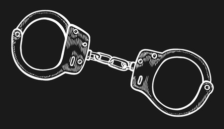 Handcuffs. Hand drawn Engraving vintage vector white. Isolated on black background. Stylish design with sketch illustration Illustration