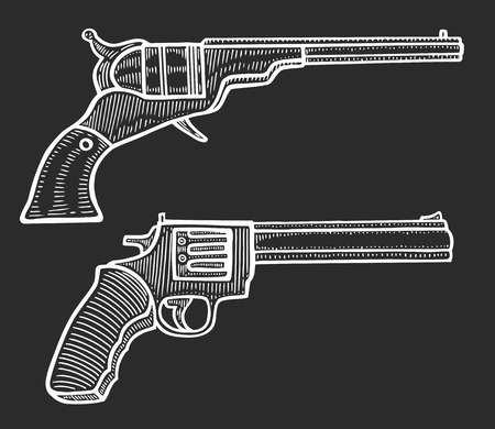 Set of two Gun revolver handgun pistol drawing in a vintage retro woodcut etched or engraved style. Hand drawn vector illustration isolated on black background
