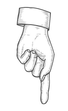 Hand Showing Symbol Pointing Down Finger Retro Vintage Sketch