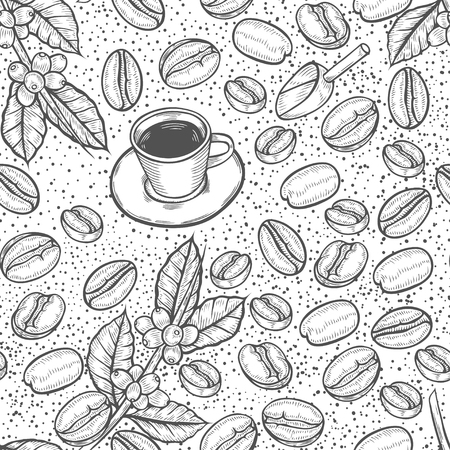 Seamless pattern coffee beans. Vector vintage black engraving illustration for poster, menu, banner.