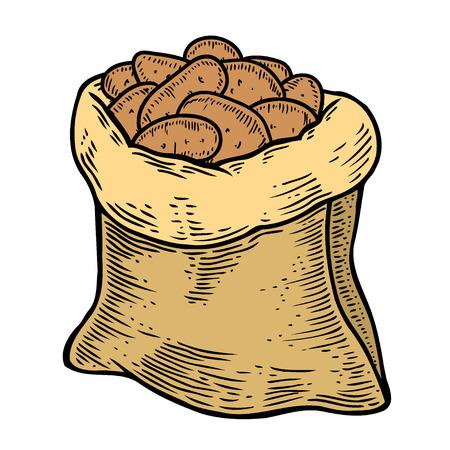 Burlap sack full of ripe potato, hand drawn, sketch style vector illustration isolated on white background. Hand drawn full burlap potato sack, isolated vector illustration