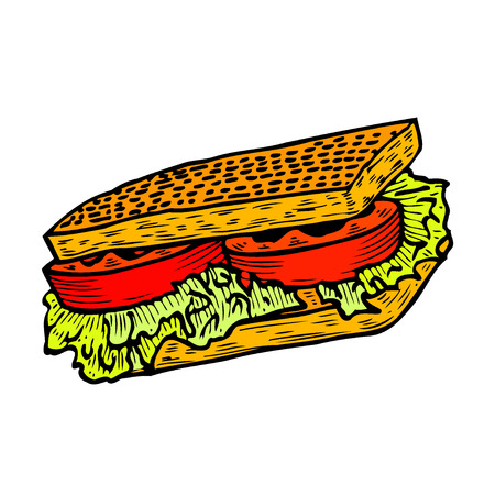 Square sandwich with lettuce, ham, cheese and tomato slices. Hand drawn sketch style. Grilled bread. Fast food drawing for restaurant menu and street food package. Vector illustration.  イラスト・ベクター素材