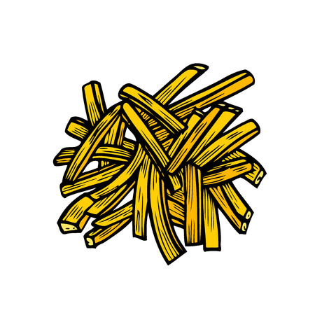 Sketch hand drawn illustration of french fries. American fast food. Vector monochrome illustration.