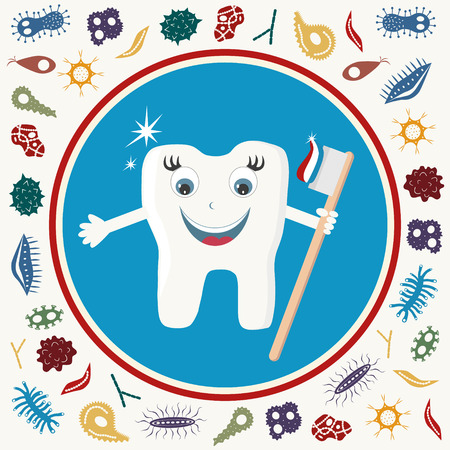 Microbe attacking tooth. Vector illustration