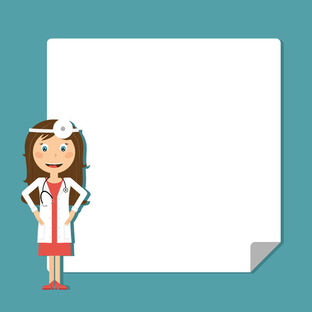 Doctor with blank poster in flat designe. Vector illustration