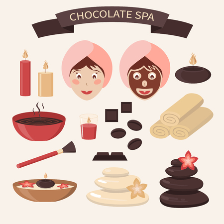 hair style: Set of chocolate spa design elements