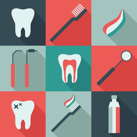 Set of 9 vector dental icons in flat design Illustration