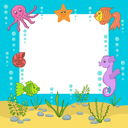 Frame against the background of various sea creatures and fishes