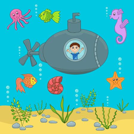Illustration of the underwater world with a submarine. Çizim