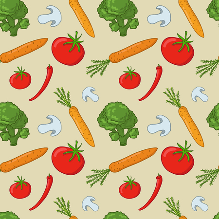 Seamless vector pattern with vegetables (broccoli, carrots, mushrooms, chili, tomato) Illustration