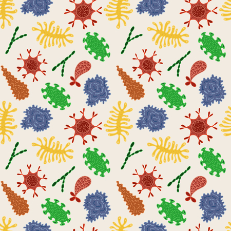 Seamless pattern with various microbes