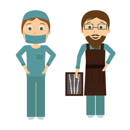 Surgeon and radiologist in flat designe. Illustration of a smiling doctor