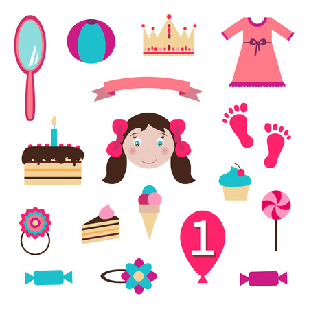 Girl Toys Stickers - for design and scrapbook