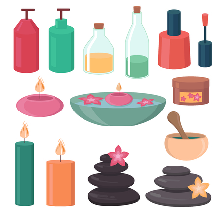hair style: Set of spa and beauty design elements Stock Photo