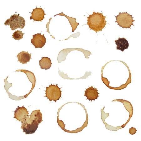 Set von echten Kaffeeflecken und Flecken für Design