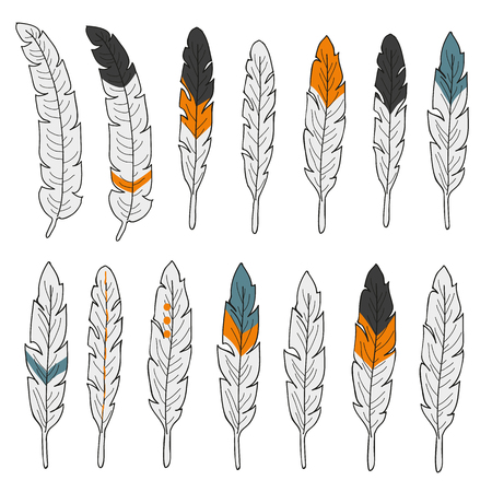 Set of isolated hand drawn feathers on white background Stock Photo
