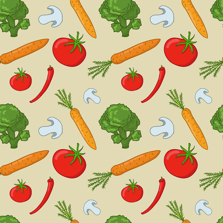 Seamless pattern with vegetables (mushroom, broccoli, tomato, carrots)