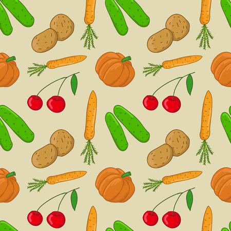 Seamless pattern with vegetables (pumpkin, potatoes, cucumber, carrots)