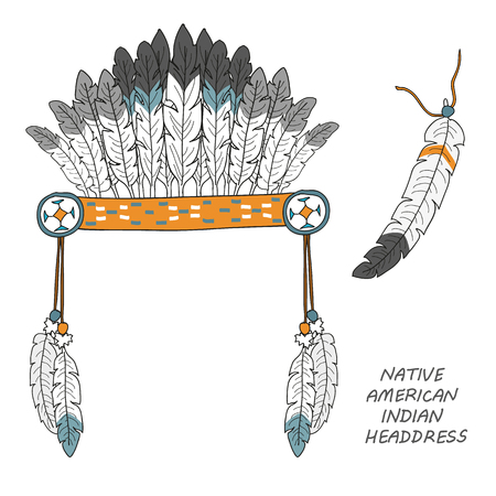 Native American indian headdress with feathers. isolated objects on a white background Stock Photo