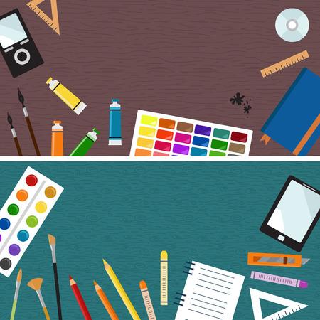 master: Iillustration of Workspace with goods of the artist. Mock up for creative workshop. Hero header image Stock Photo