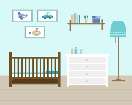 Child room for the newborn boy. Baby room with furniture. Nursery interior.