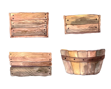 wood crate: Set of hand painted watercolor wood box. Collection of isolated wooden crates. DIY clip art Stock Photo