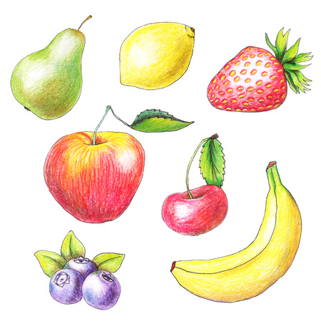 Original apple, pear; lemon; banana and cherry drawn by color pencils. Isolated fruits on white background.