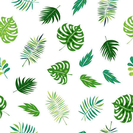 twigs: Seamless pattern with hand drawn green tropical leaves and plants. Vector jungle greenery background perfect for fabric textile or wedding decor