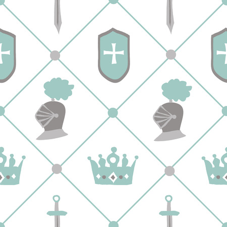 knightly: Chivalrous tournament vector seamless pattern. Vintage knightly madival background perfect for baby boy fabric textile or decorative wrapping paper Illustration
