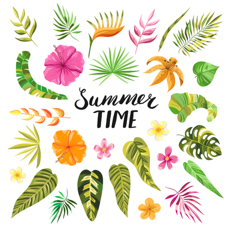 Summer time lettering. Tropical summer flowers, blooms, branches and leaves. Vector decorative colorful paradise garden plants and objects in pink, orange and green colors.
