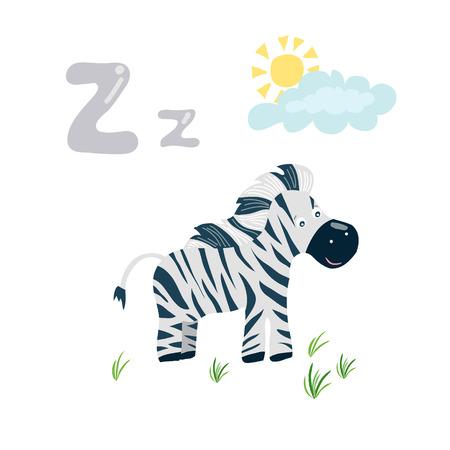 A Vector cartoon zoo alphabet letter. ABC animals: Z is for zebra. Baby kid pre school study print design with smiling zebra Illustration