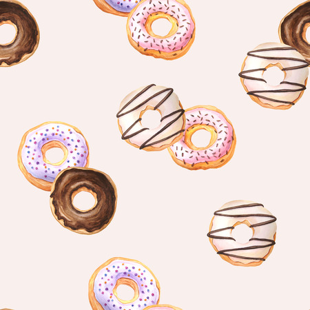 Seamless pattern with watercolor sweet donuts glazed with cream, chococlate and sprinkling confectionery. Background with delicious dessert can be used for fabric textile or wallpaper