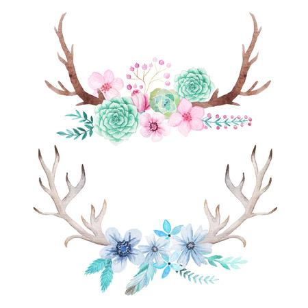 손으로 그린 집합이 수채화 꽃, 나뭇잎, 뿔과 지점 소박한 스타일. Boho 소박한 composicion 꽃 디자인 프로젝트에 대한 완벽한