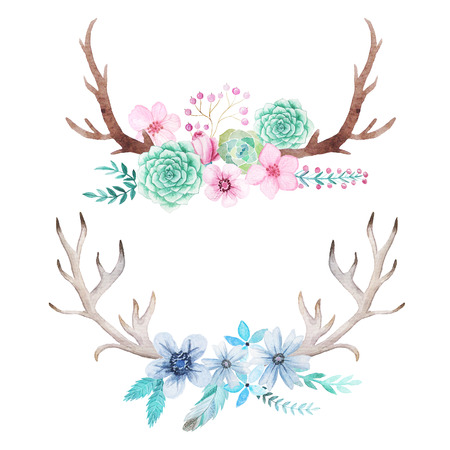 Set of hand painted watercolor flowers, leaves, antlers and branches in rustic style. Boho rustic composicion perfect for floral design projects