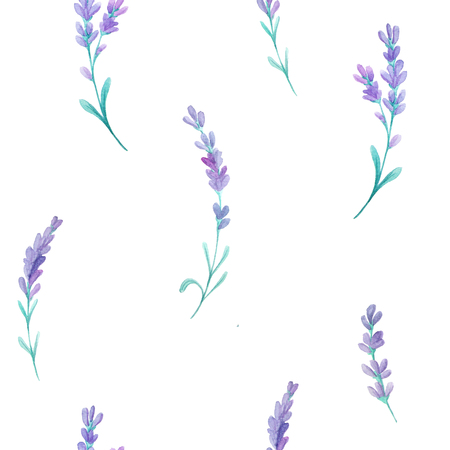 provence: Seamless pattern with watercolor lavender flowers inspired by provence field. Hand painted provence herbs background perfect for textile and scrapbooking Stock Photo