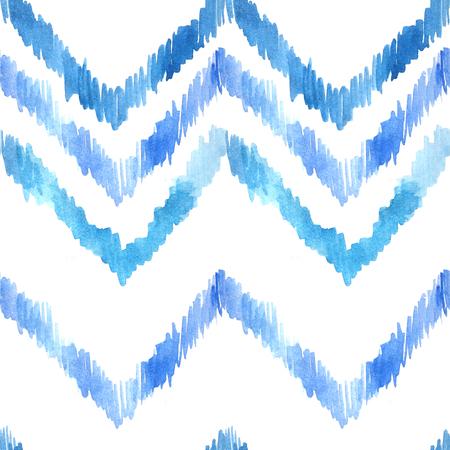 Nahtloses Muster des Aquarells mit den ethnischen und Stammes- Motiven, Zickzacklinien, Hand gezeichnete Bürstenanschläge. Nahtloser Hintergrund der bunten Retro- Art. Vintage Print perfekt für Heimtextilien oder Herbst Mode Standard-Bild - 84212406