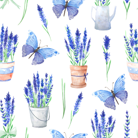 paint can: Seamless pattern with watercolor lavender flowers, flowerpots and butterfly. Hand painted provence herbs background perfect for textile and scrapbooking