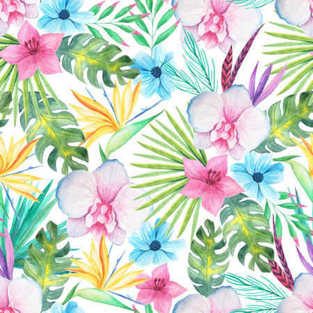Seamless pattern with watercolor tropical flowers, leaves and plants. Hand painted jungle paradise background perfect for textile and scrapbooking