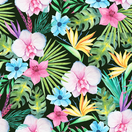 Seamless pattern with watercolor tropical flowers, leaves and plants with dark backdrop. Hand painted jungle paradise background perfect for textile and scrapbooking Reklamní fotografie