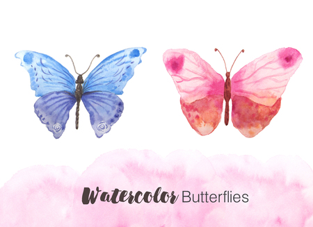 card making: Set of colorful bright watercolor butterflies isolated on white. Hand painted butterflies design perfect for wedding invitations and card making