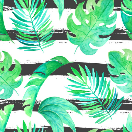 twigs: Seamless pattern with watercolor green tropical leaves and plants. Hand painted jungle greenery background perfect for fabric textile or wedding decor
