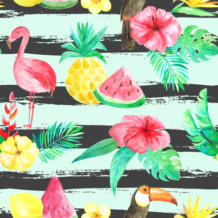 Seamless pattern with watercolor tropical flowers, leaves, plants,fruits and birds. Hand painted jungle paradise background perfect for textile and scrapbooking