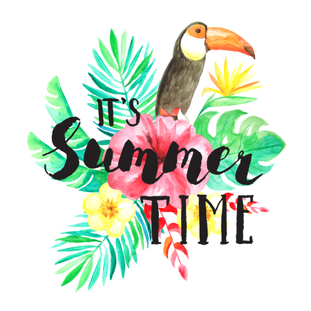 its: Its Summer time hand lettering. Set of Watercolor hand painted tropical flowers, leaves and toucan compositions with typography.